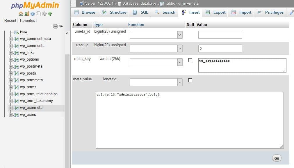 create wordpress admin user user meta