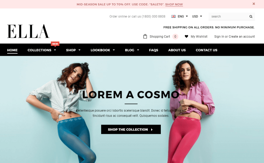 ella is the best selling shopify theme at themeforest its built on bootstrap 3 and features a helpful mega menu module detailed product filtering by tags