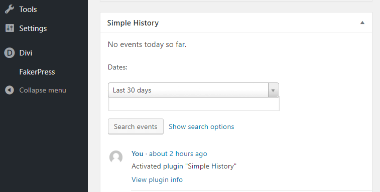The Simple History widget in action.