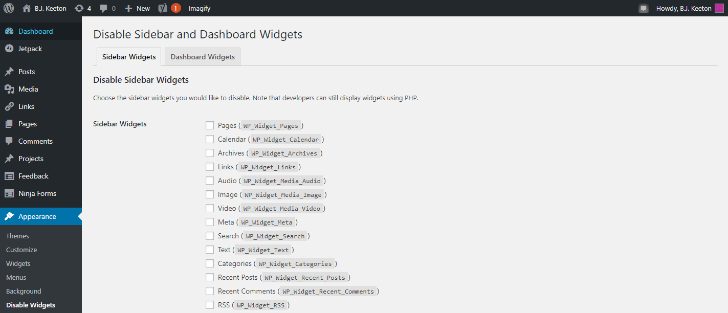 disable wordpress widgets