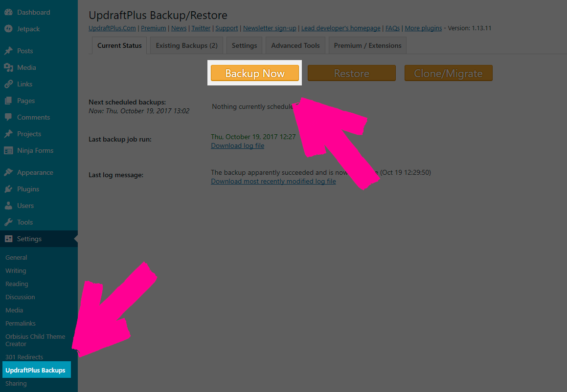 Recover WordPress database