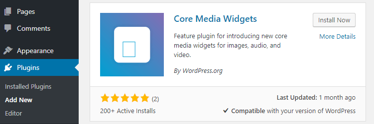 The Core Media Widgets plugin.