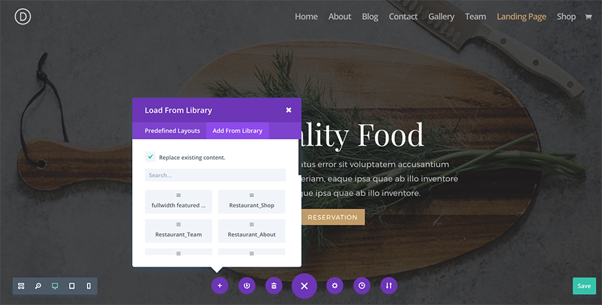 divi-restaurant-layout-pack-add-from-library