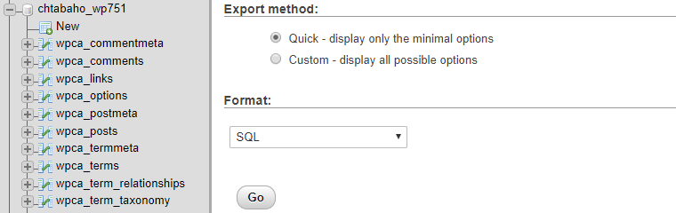 Exporting one of your databases.