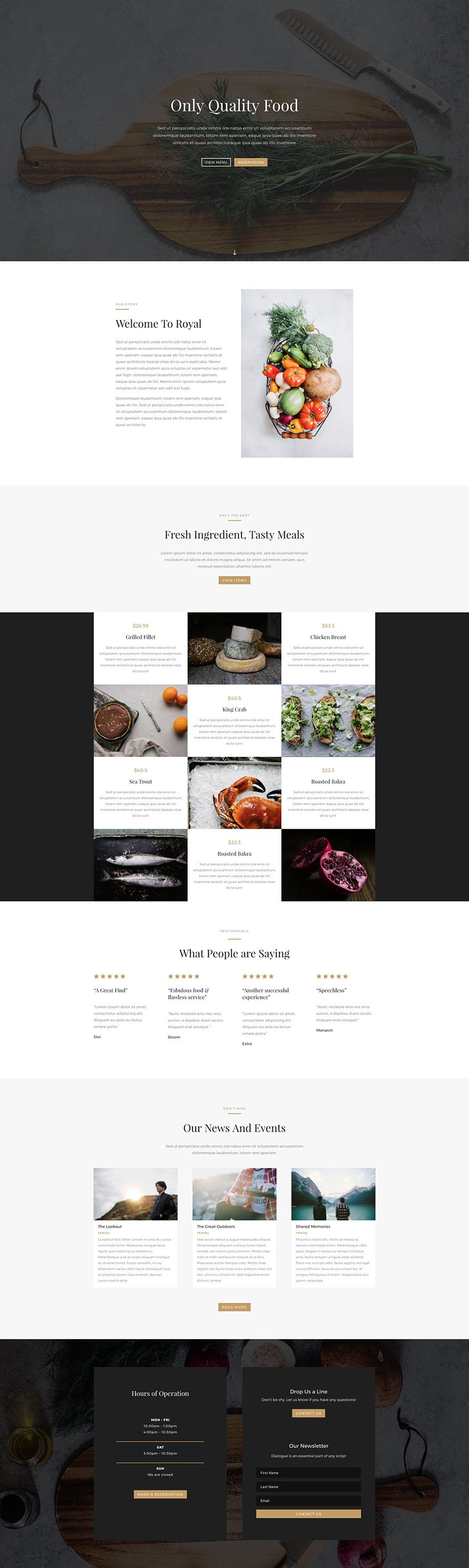 Download a beautiful free divi restaurant layout pack