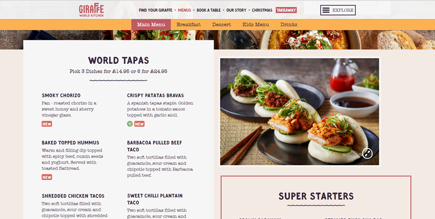Tasty examples of restaurant menu design on the web