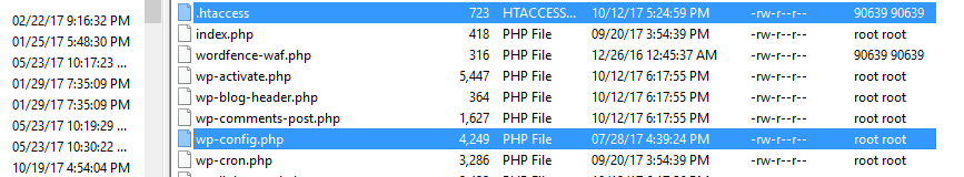 Some of WordPress' core files.