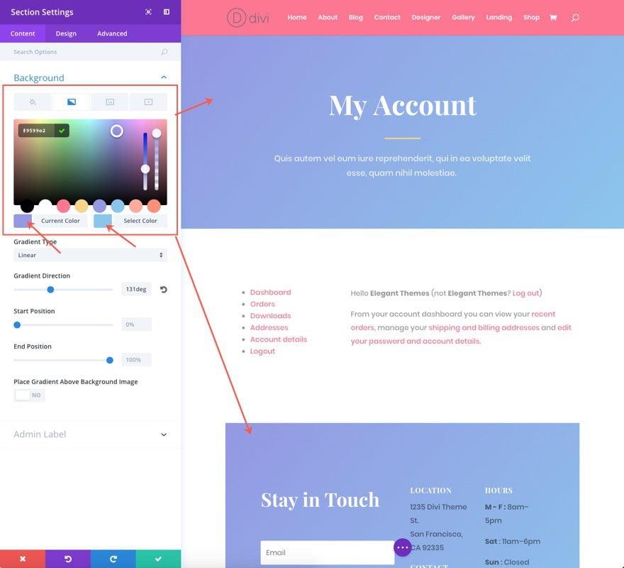 change background color gradients