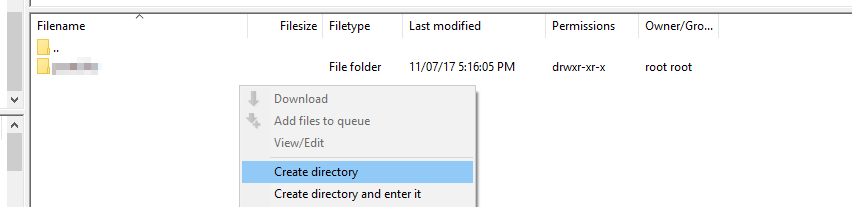 Creating a subdirectory via FTP.