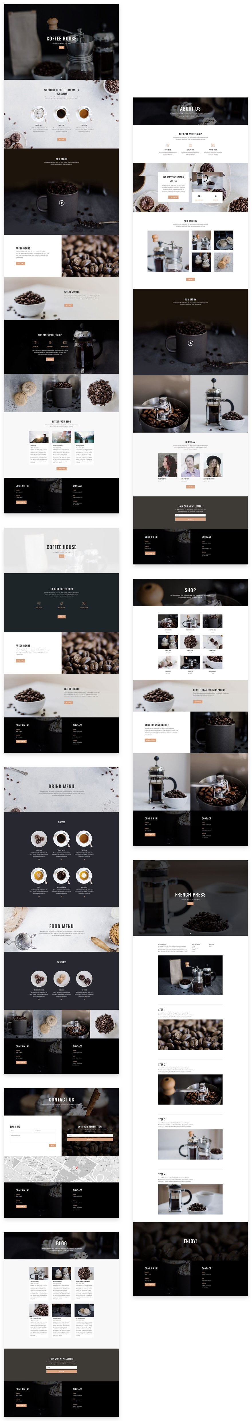 Download a tasty free coffee shop layout pack for divi elegant coffee shop malvernweather Gallery