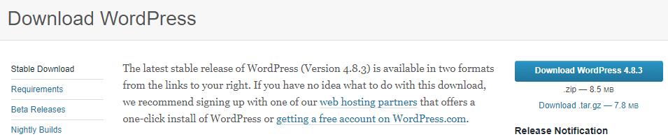 Downloading WordPress.