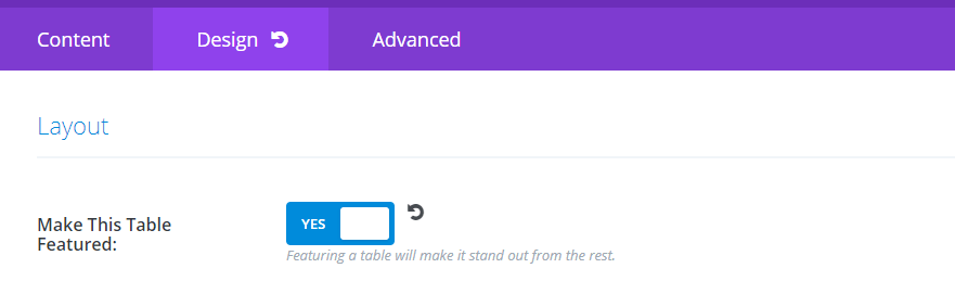 Enabling the featured table functionality.