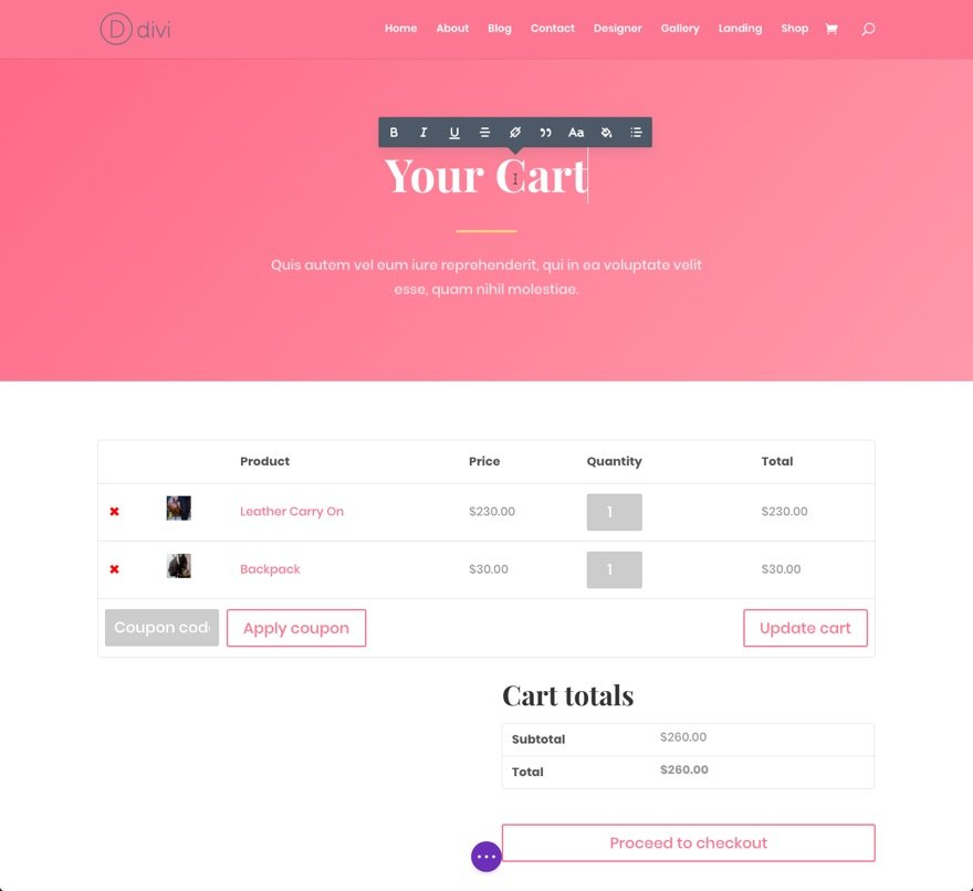 finish cart page