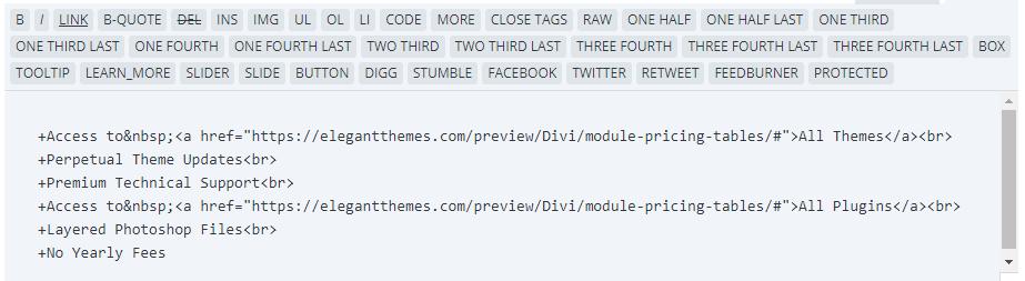 Divi's text editor.