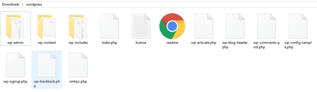 A local folder including WordPress' setup files.