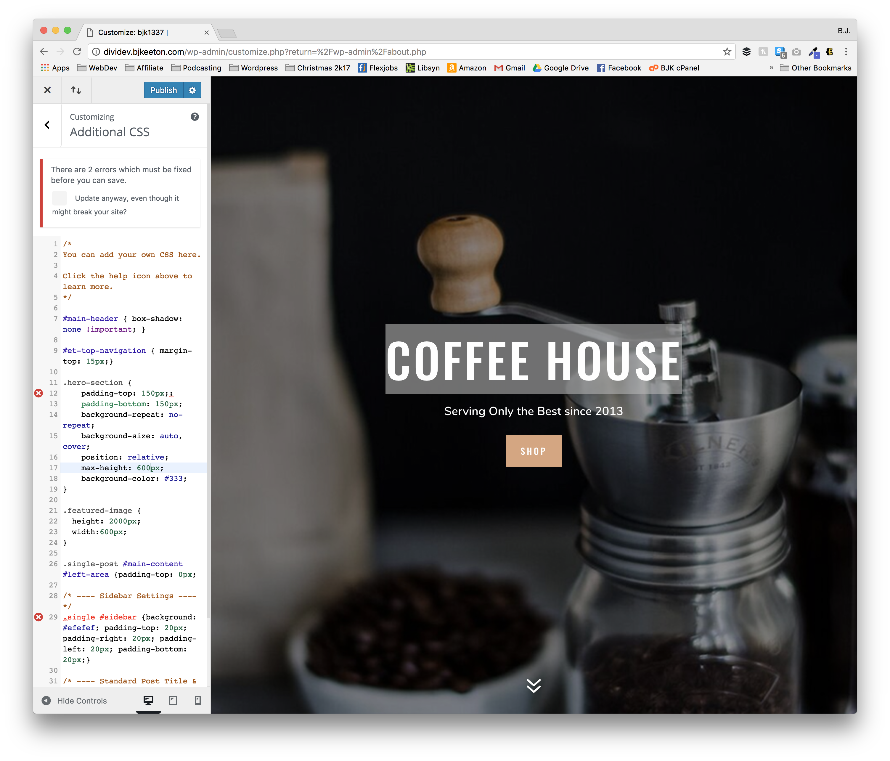 wordpress code editor