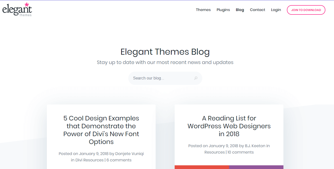 The Elegant Themes blog.