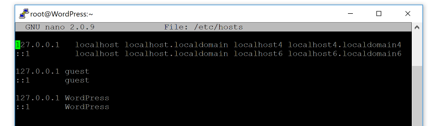 An example of a WordPress hosts file.