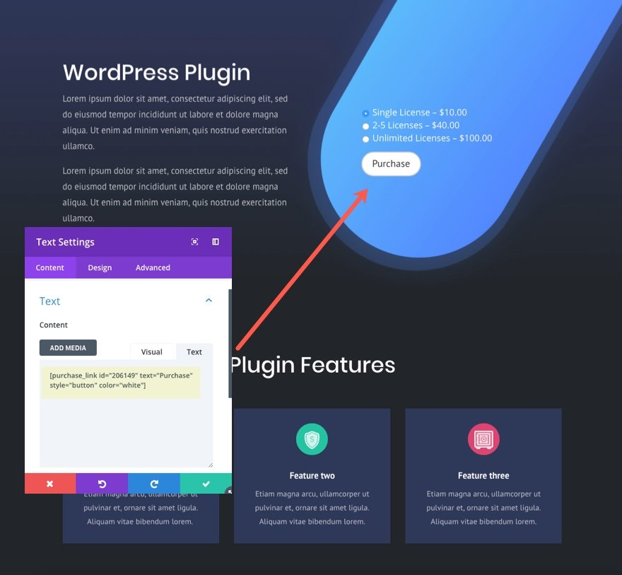 product page shortcode