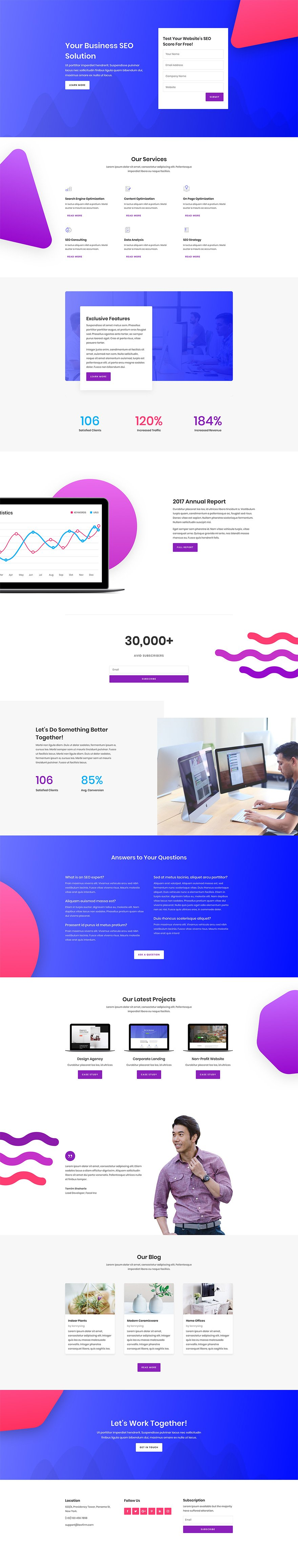 Download A Free GoalOriented SEO Layout Pack For Divi Elegant - Seo landing page template