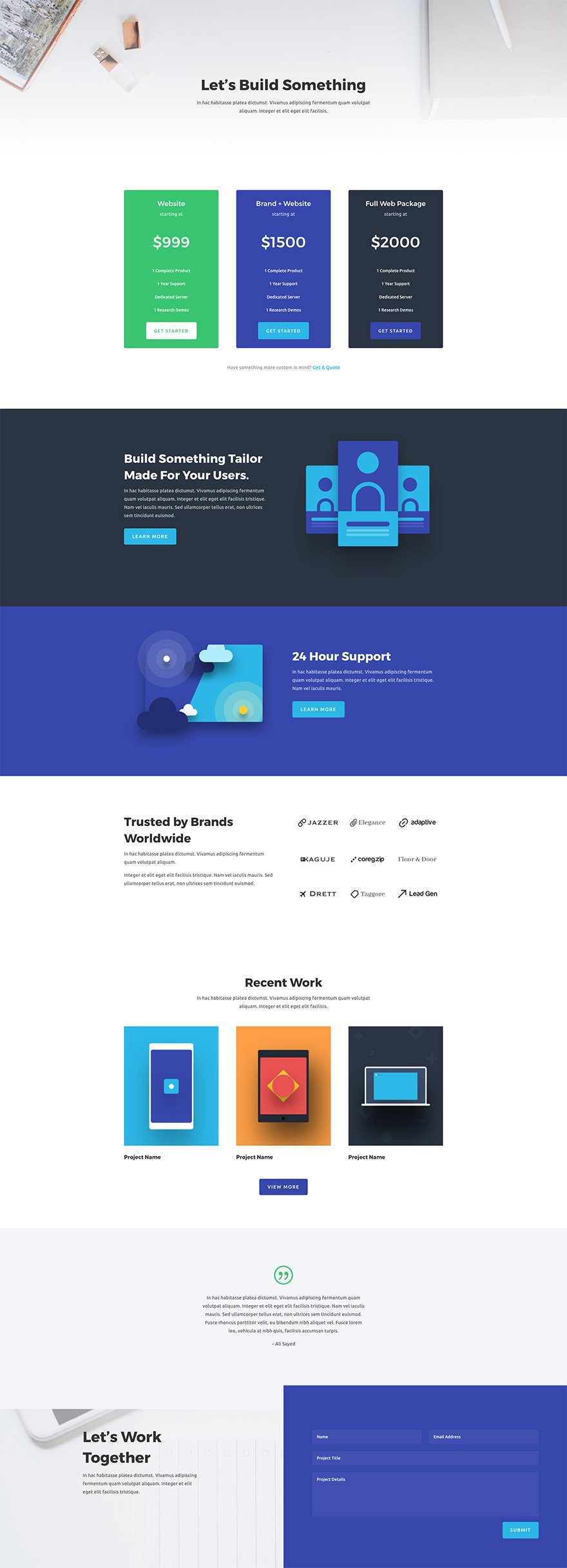 Download a stunning free web agency divi layout pack for It web page