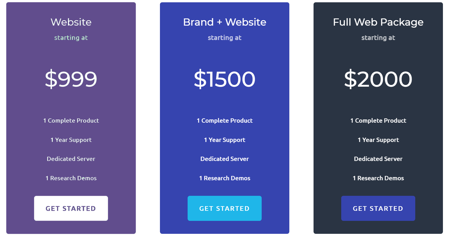 An example of a Divi pricing table with an element featuring ultra violet.