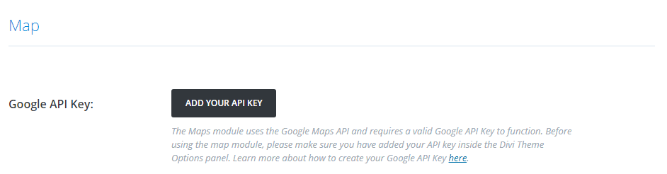 The option to add your API key.