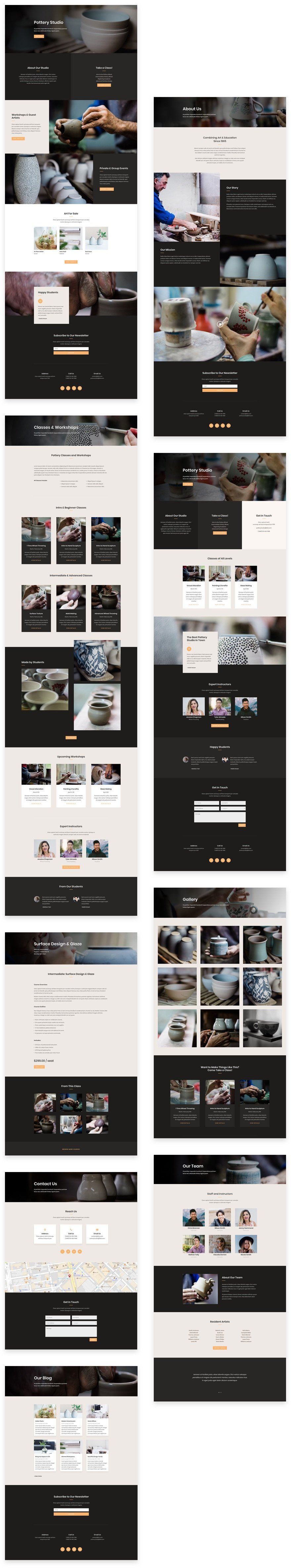 get a beautifully polished pottery studio layout pack for divi
