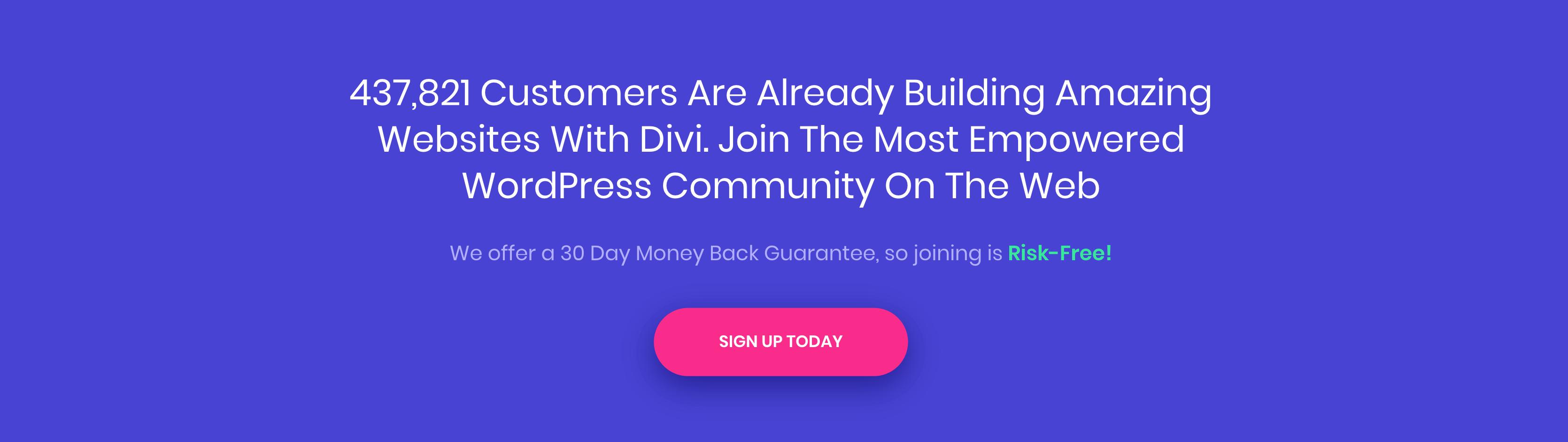 Divi's social proof marker on the website.