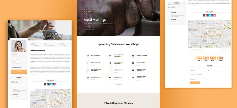 How to Add Event Scheduling and Booking to Your Site Using the Pottery Studio Layout Pack