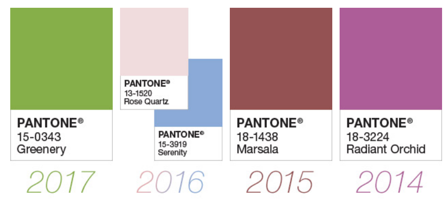 Some of the past Pantone colors of the year.