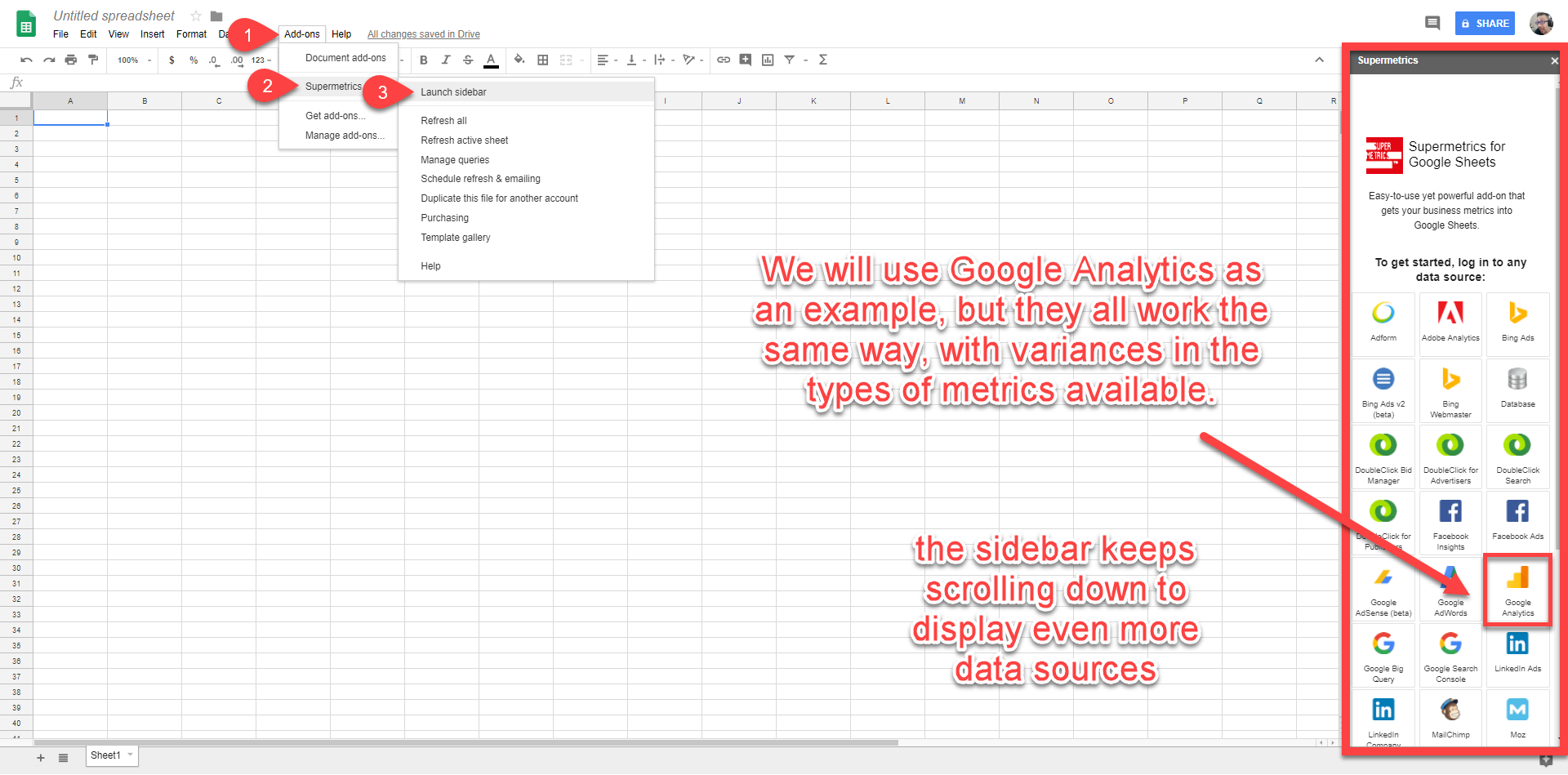 google sheets google analytics