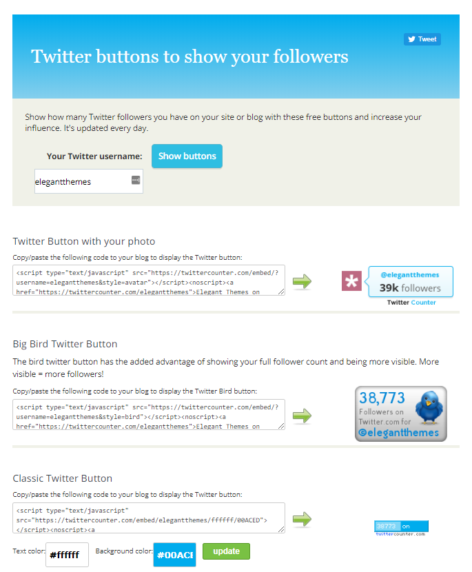 twitter subscriber count using twitter counter