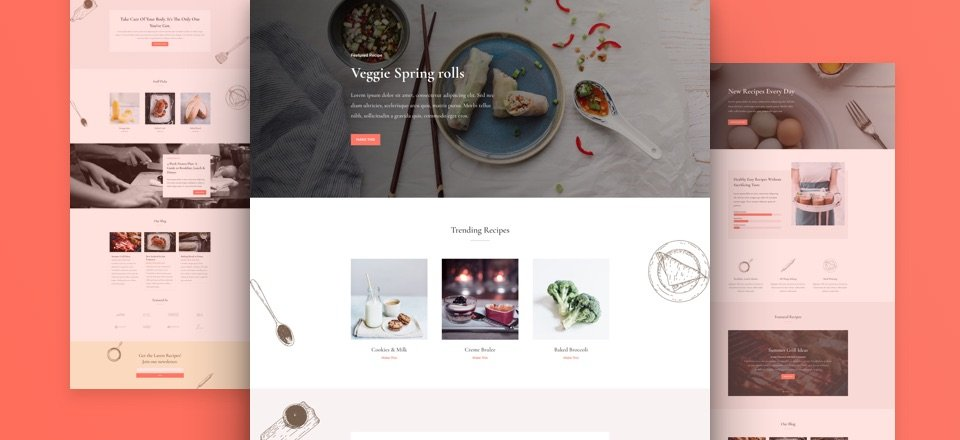 Get a Tasteful FREE Food Recipes Layout Pack for Divi
