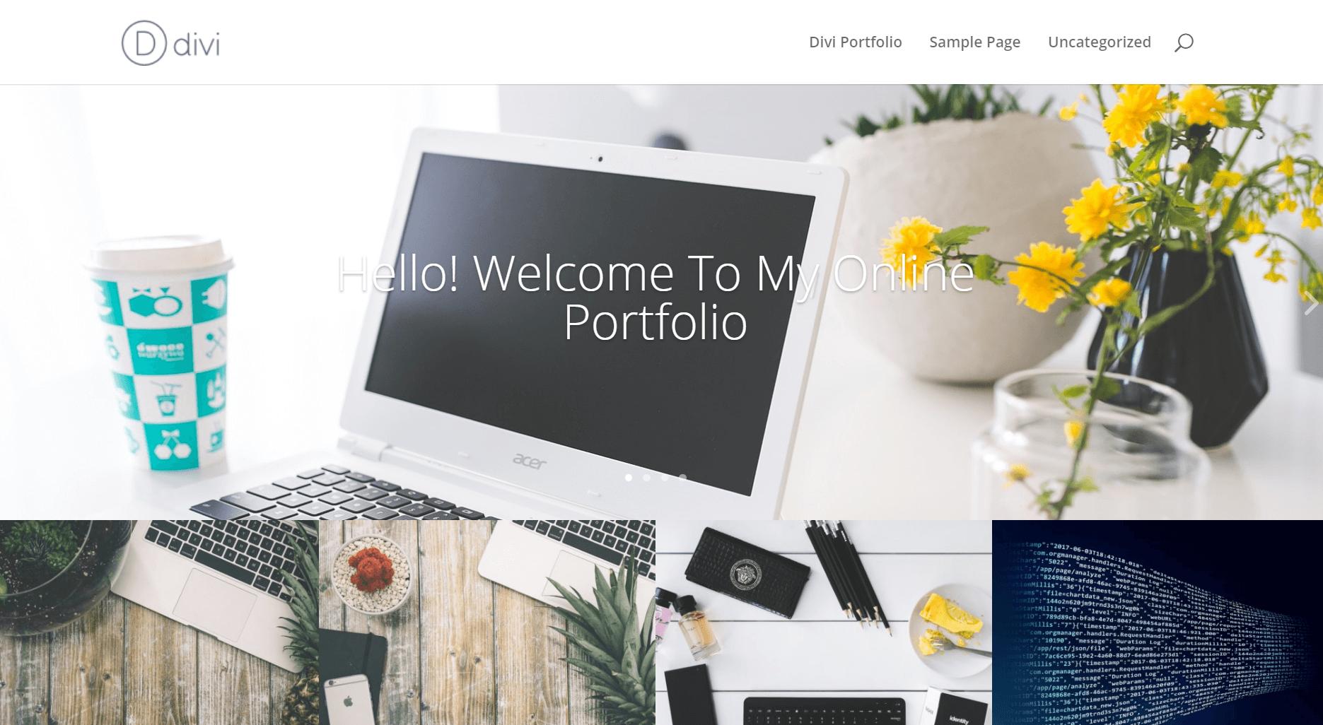 A homepage portfolio example.