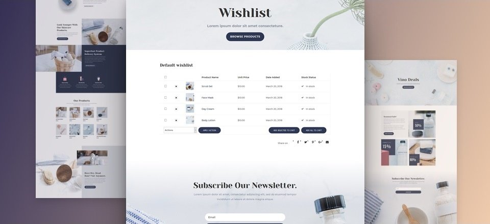How to Add Product Wishlists to Divi's Cosmetics Shop Layout Pack
