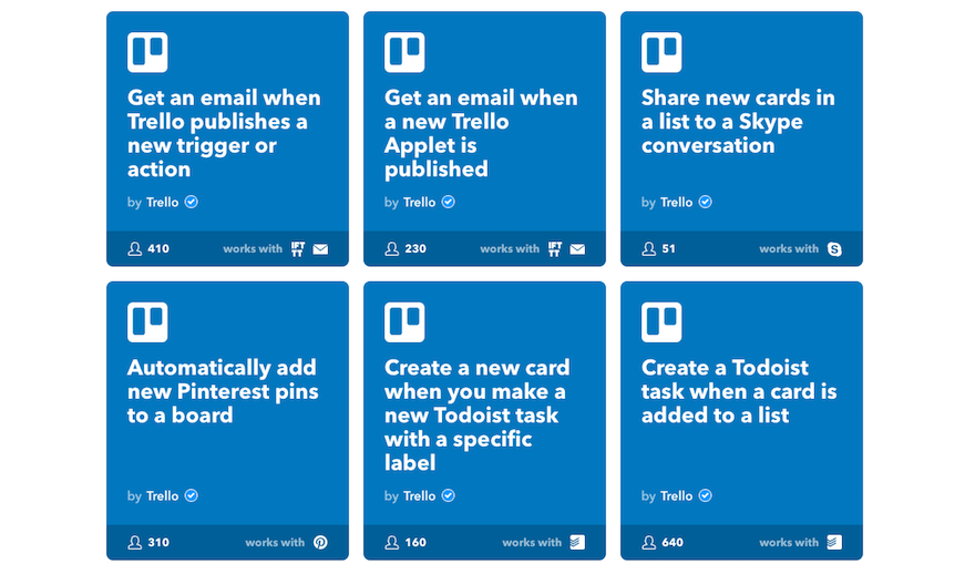 IFTTT Trello integrations