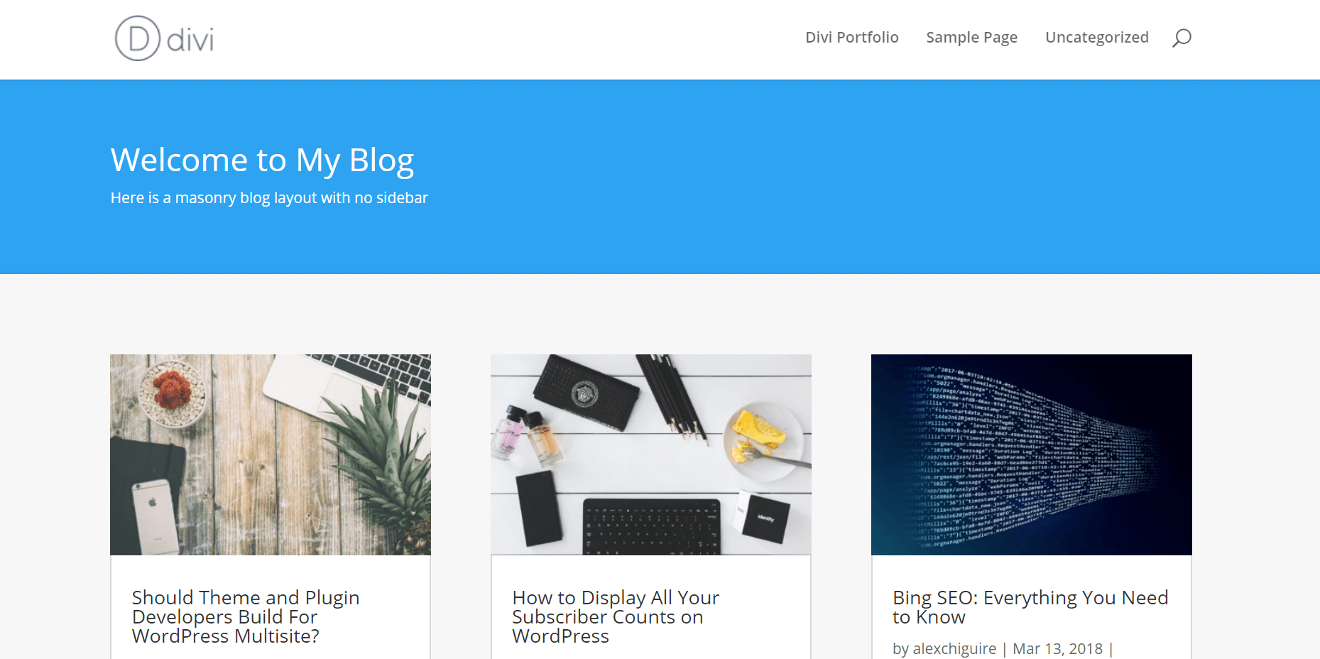 A Divi masonry blog example.