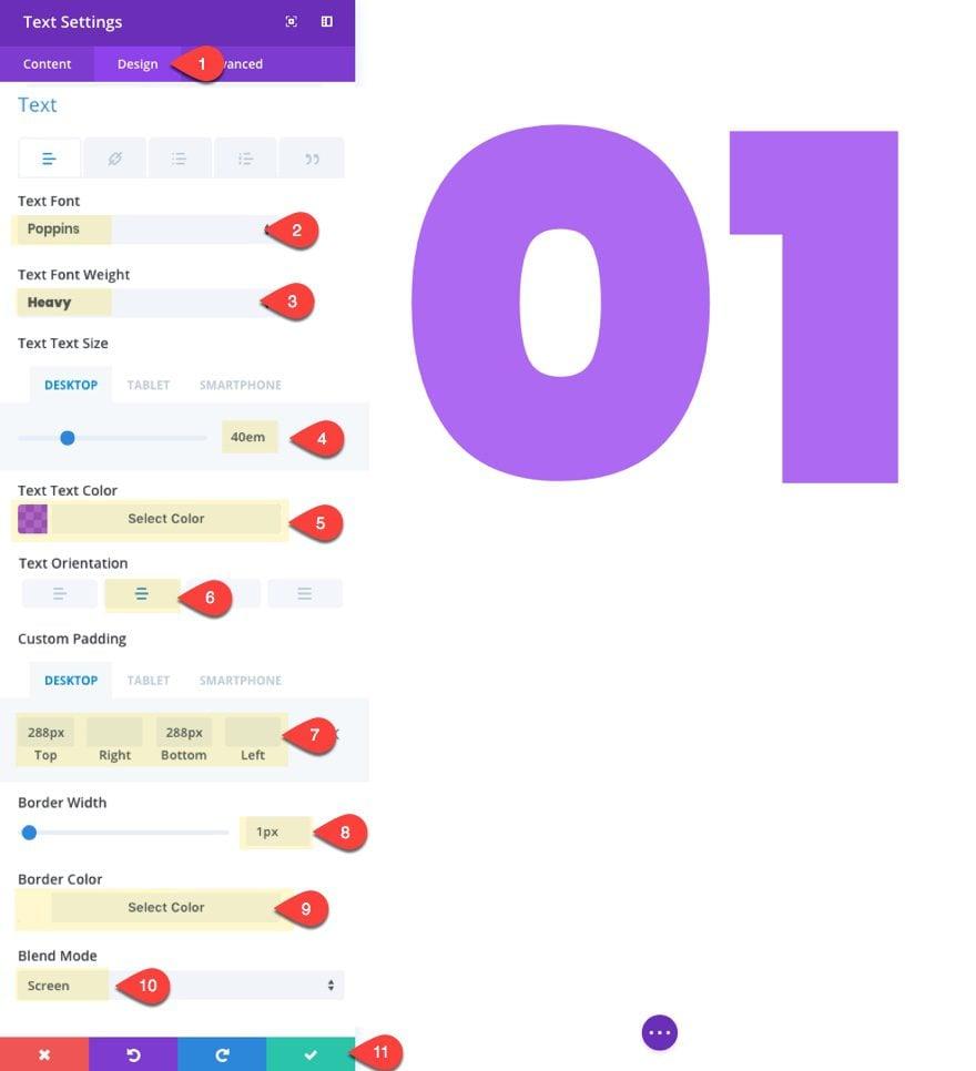 number design settings