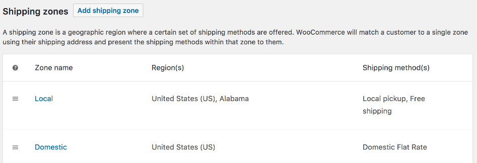 A WooCommerce shipping configuration screen.