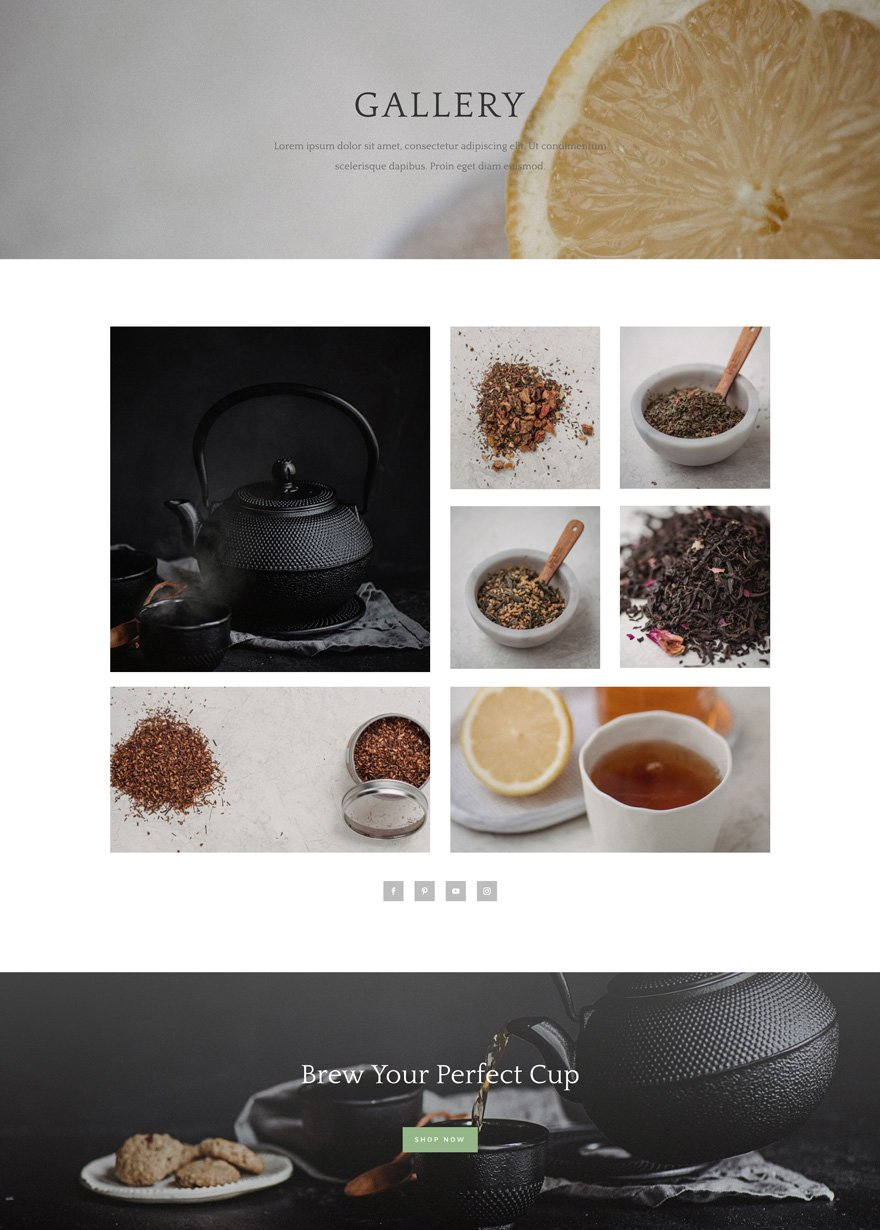 tea shop gallery page
