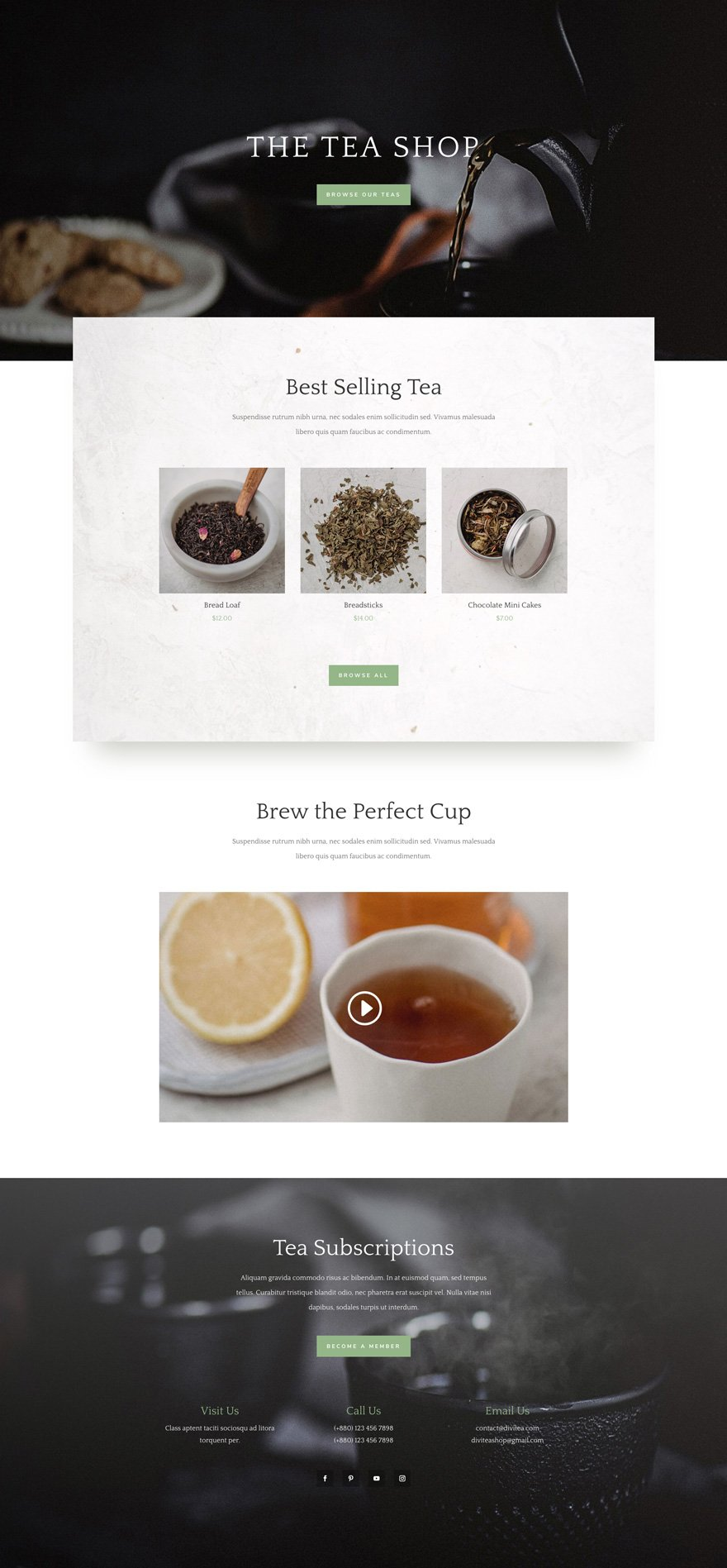 Get a free delightful tea shop layout for divi elegant for Homepage shop