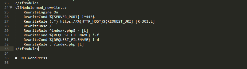 An example of an htaccess file.