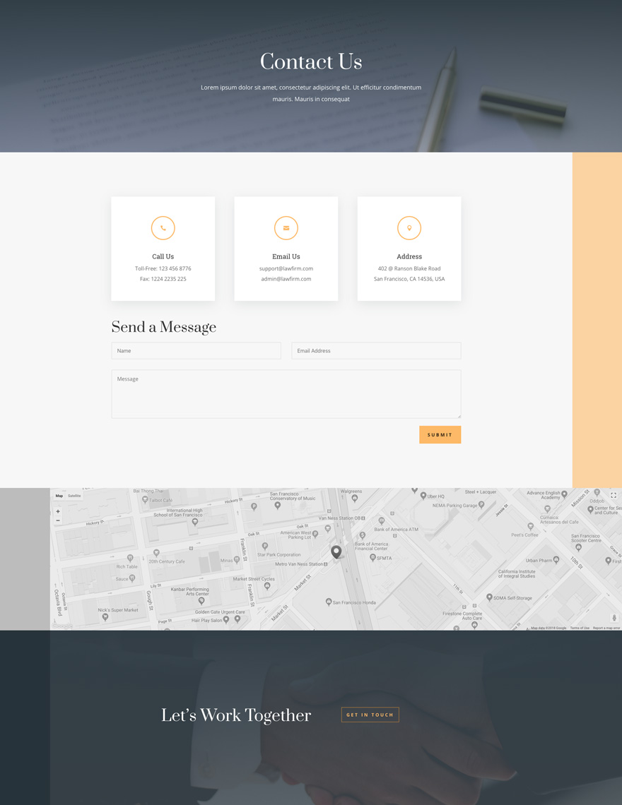 law firm layout contact page