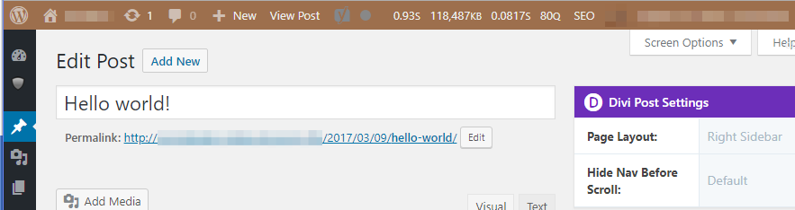 The Query Monitor information in the WordPress admin bar.