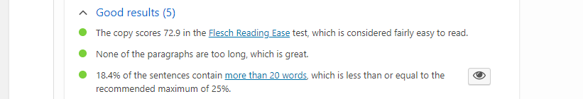 Part of a Yoast readability analysis.
