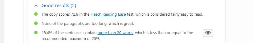 Part of a Yoast readability analysis.