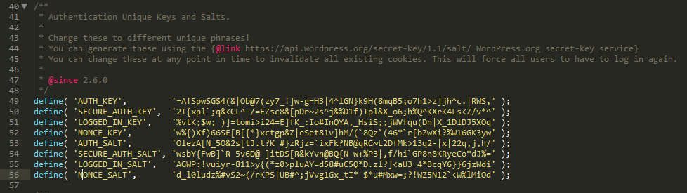 A wp-config.php file displaying a set of salt keys.
