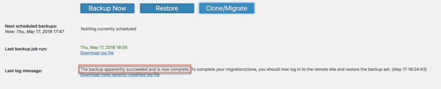 UpdraftPlus Restore and Migrate