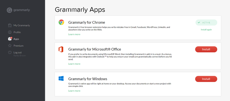 Installing the Grammarly Apps